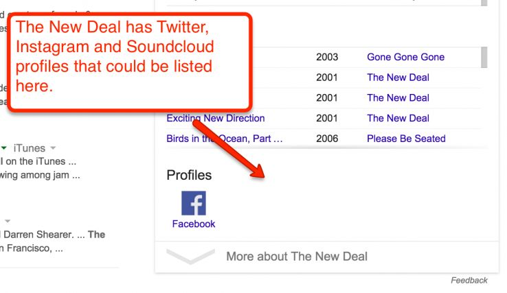 missing social profiles in knowledge graph