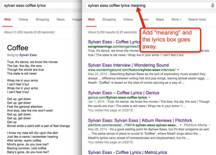 lyrics meaning in serps