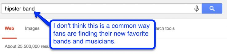searching for bands on google
