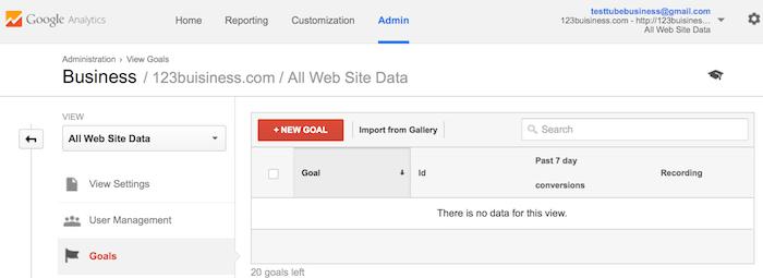 adding a new goal to google analytics