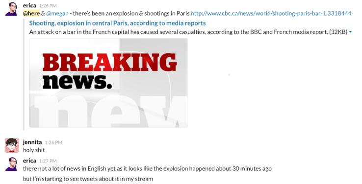 The team responds to the Paris attacks