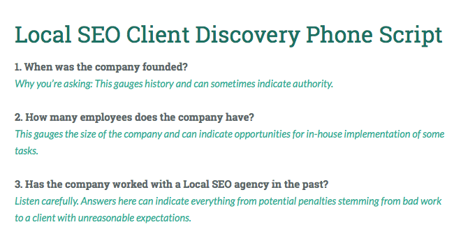 local seo client discovery phone script