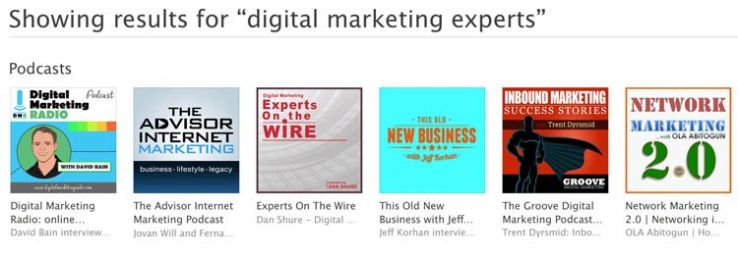 """iTunes results for """"digital marketing experts."""""""