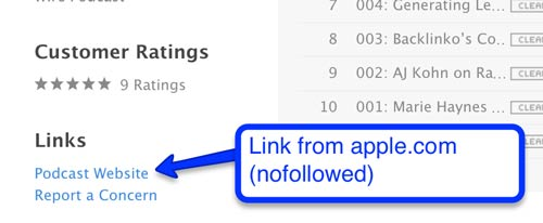 Nofollowed link from Apple