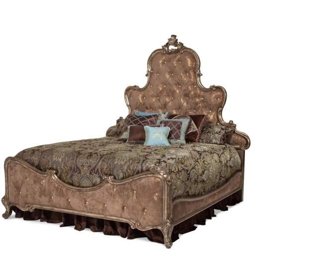 Platine De Royale Antique Platinum Queen Panel Bed W Brown Fabric