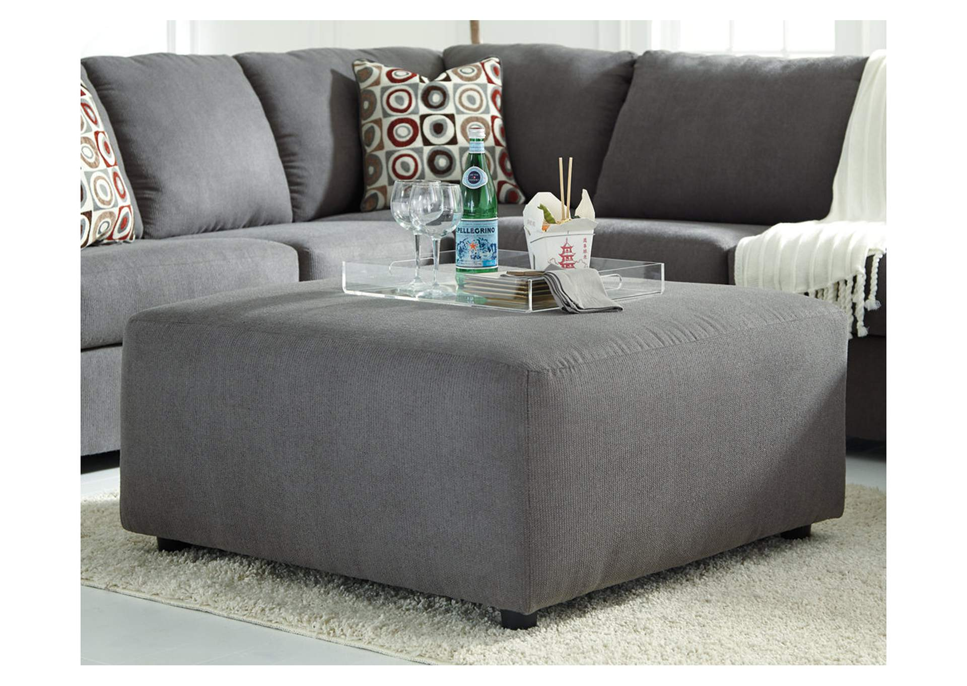 Wine Country Furniture Jayceon Steel Oversized Accent Ottoman
