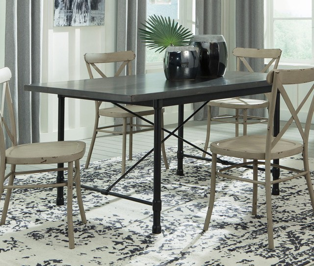 Furniture Outlet Chicago Llc Chicago Il Minnona Aged Steel Rectangular Dining Table W  Antique White Side Chairs