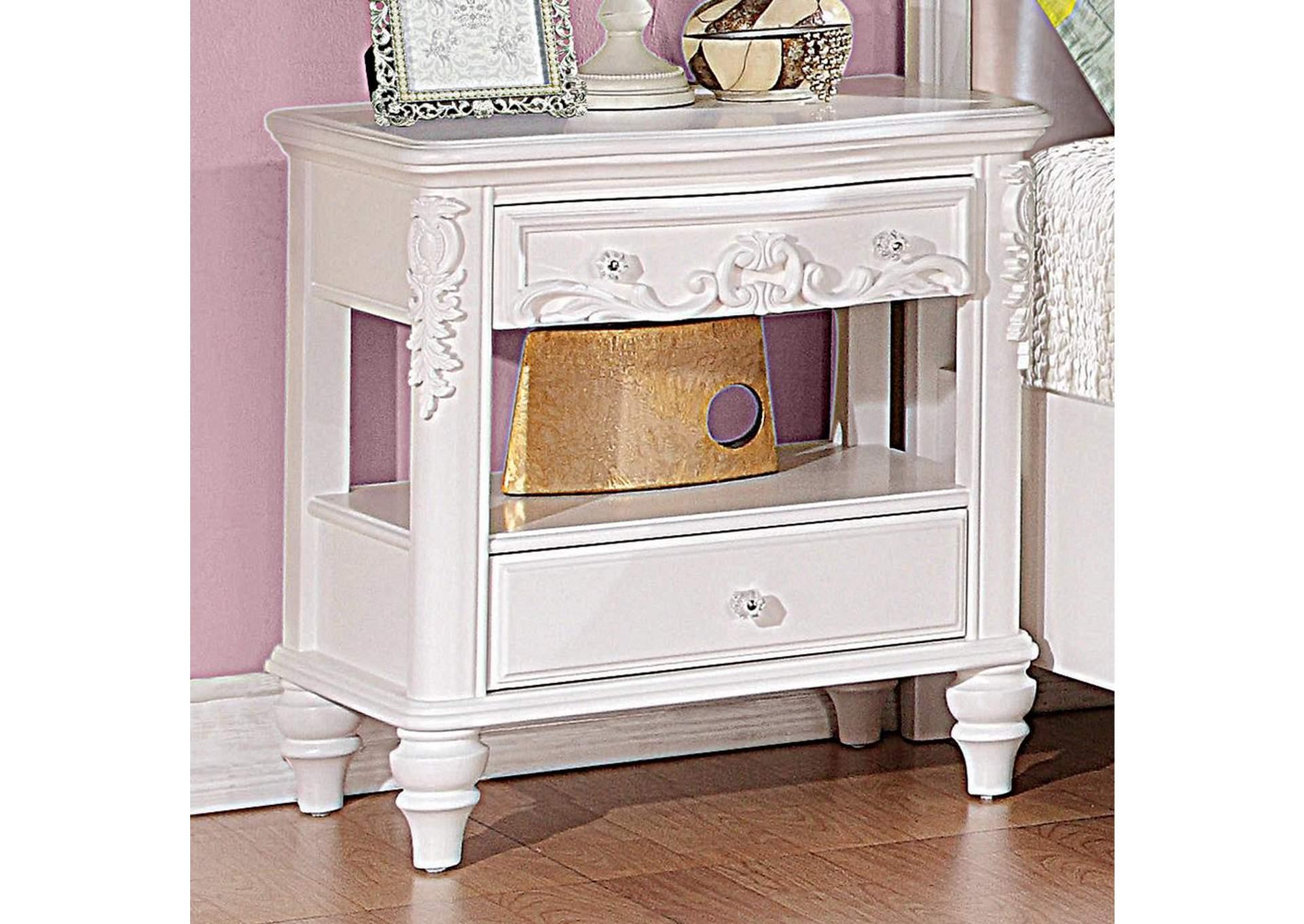 This Is It Furniture Caroline White Nightstand