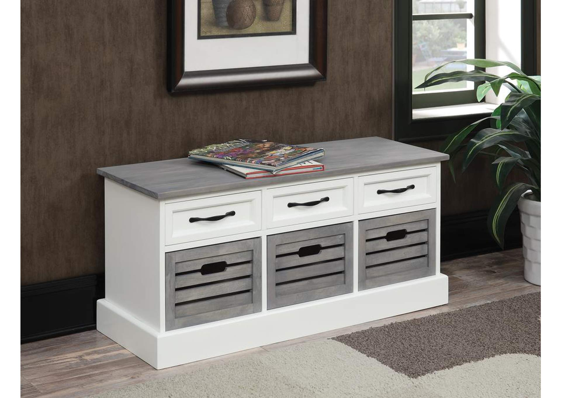 Home Furniture Warehouse WhiteGrey Accent Cabinet