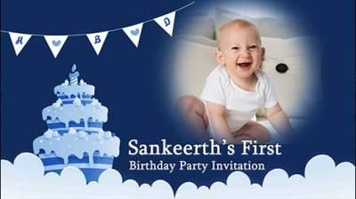baby 1st birthday invitation card
