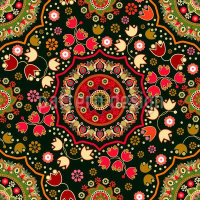 Jacquard Dekostoff Folklore Elfenbein Multicolor 140cm