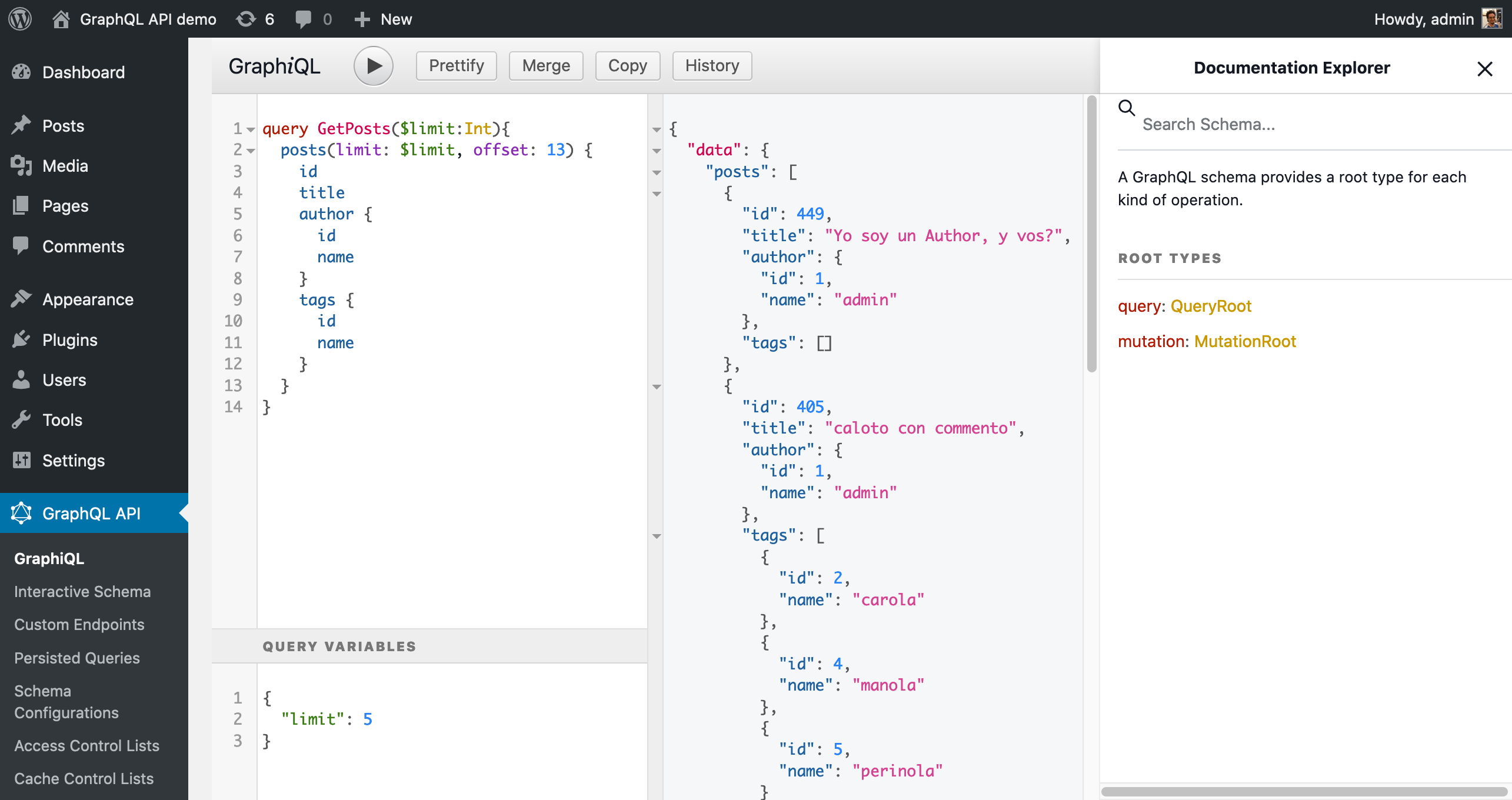 GraphiQL for the admin