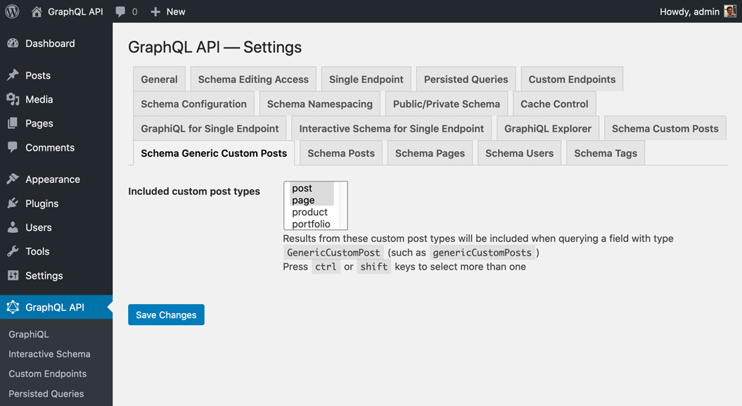 The plugin provides an interface for whitelisting CPTs to be exposed in the API.