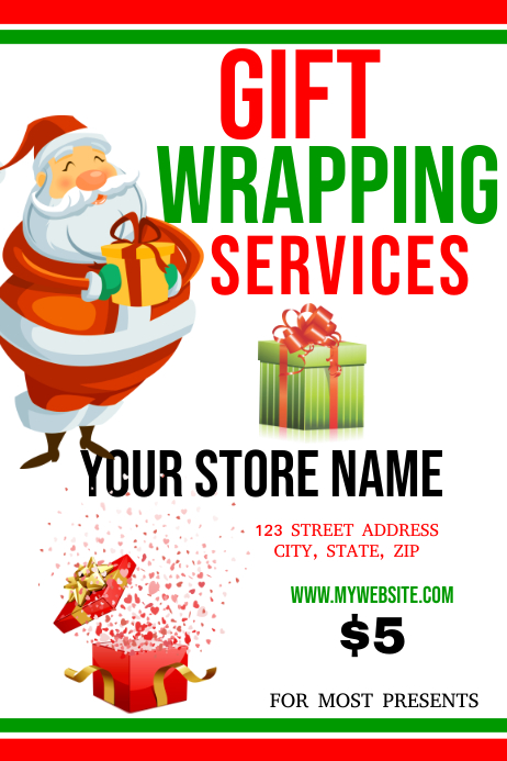 Christmas Gift Wrapping Service Template PosterMyWall