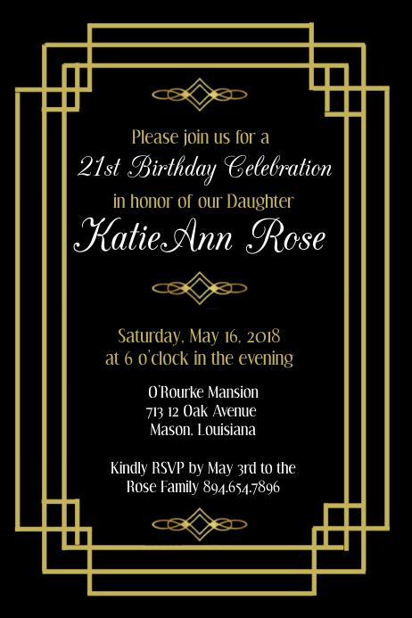 Art Deco Birthday Invitation Template PosterMyWall