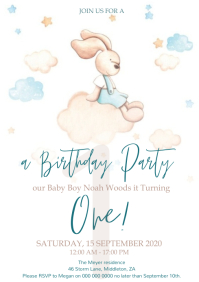 baby boy s first birthday invite
