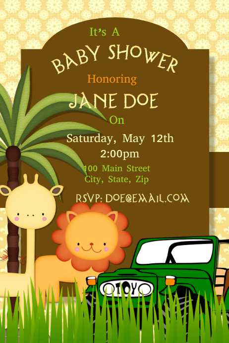 Safari Baby Shower Invitation Template Postermywall