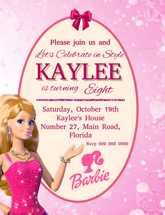 barbie birthday party invitation template