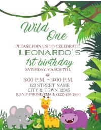jungle birthday invitation customizable