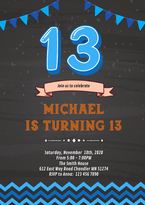 Suchjunge 13 Geburtstag Einladungsbroschure Vorlage Postermywall