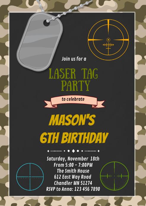 camo laser tag birthday party