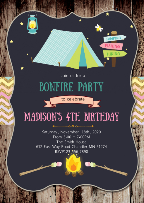 camp birthday party invitation template