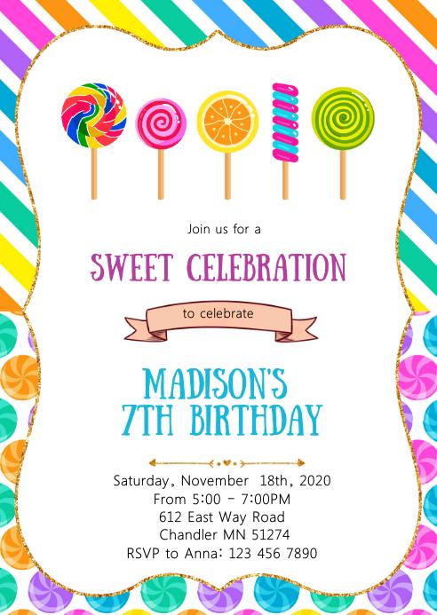 candy land birthday party invitation