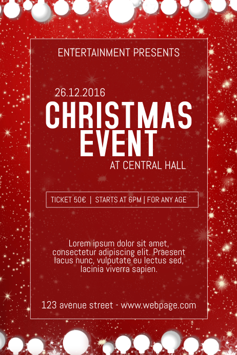 Copy Of Christmas Event Concert Poster Template Red PosterMyWall