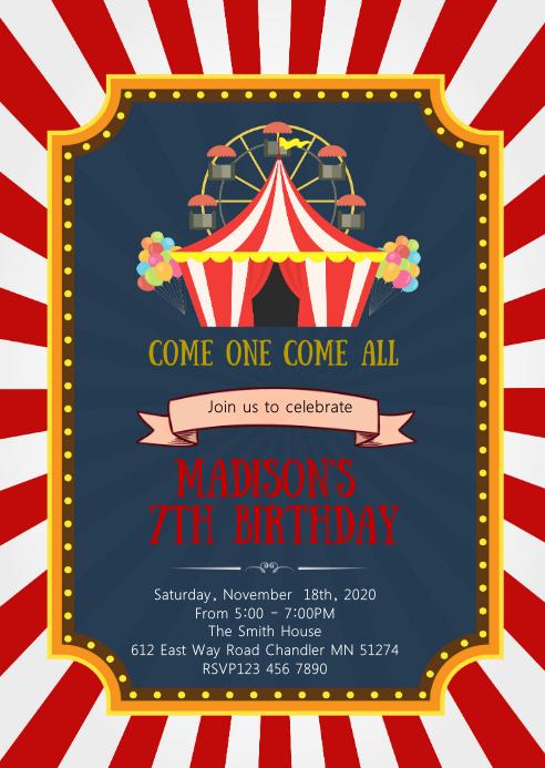 Zirkus Karneval Geburtstagsfeier Einladung Vorlage Postermywall