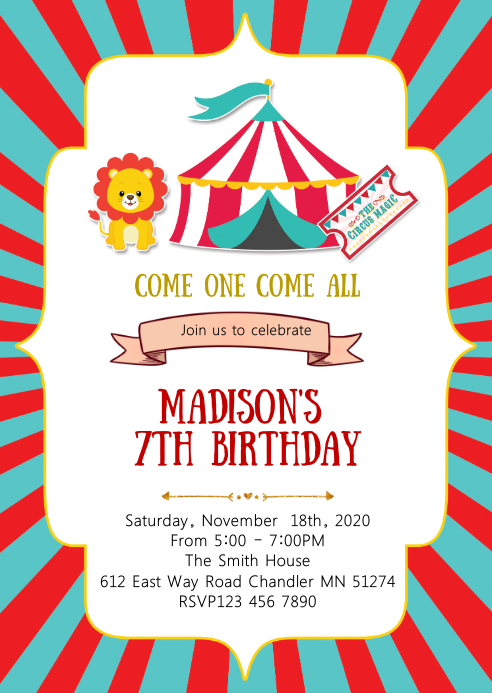 Circus Girl Birthday Party Invitation Template Postermywall