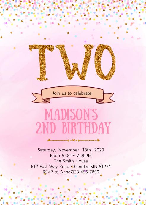 Confetti Second Birthday Invitation Template Postermywall