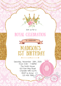 230 princess birthday invitation