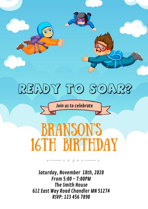 Niedliche Fallschirmspringen Geburtstagskarte Vorlage Postermywall