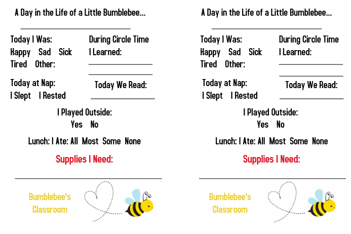 Daycare Toddler Daily Report Template Postermywall