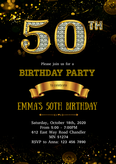 diamond 50th birthday invitation