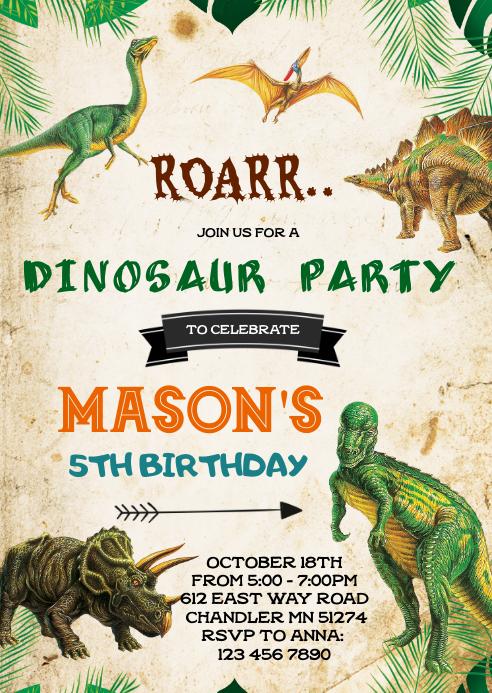 dinosaur birthday invitation template