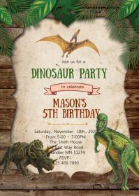 31 120 Dinosaur Party Invitation Customizable Design Templates Postermywall