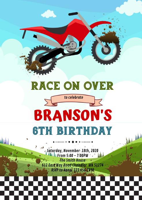 Dirt Bike Motorrad Geburtstag Einladungsbroschure Vorlage Postermywall