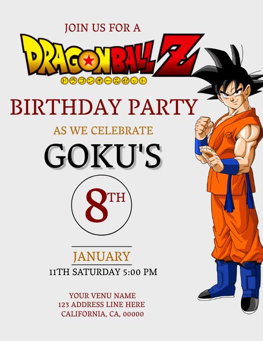 Dragon Ball Z Geburtstag Einladung Vorlage Vorlage Postermywall