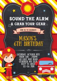 10 770 firetruck birthday invitation