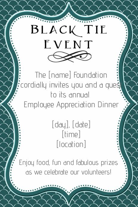 Formal Black Tie Employee Appreciation Dinner Invitation