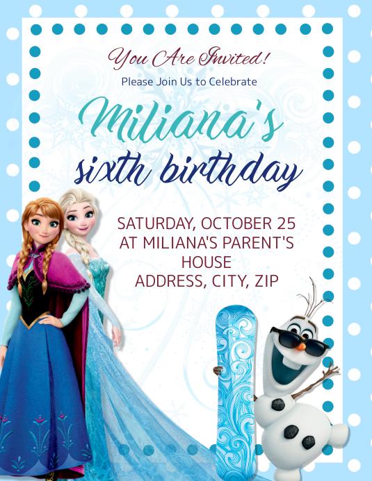 frozen kids birthday invitation