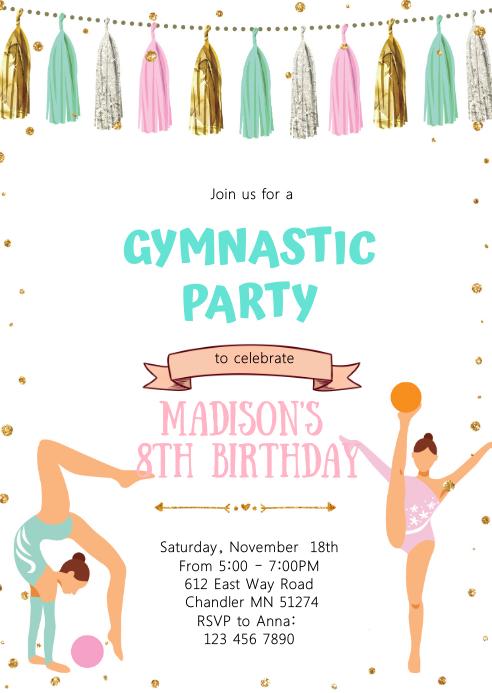 glitter gymnastic birthday party