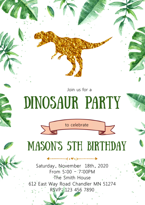 gold foil dinosaur birthday party