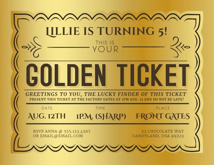 golden ticket event invitation template