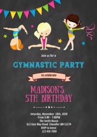 Gymnastik Geburtstagsfeier Thema Einladung Vorlage Postermywall