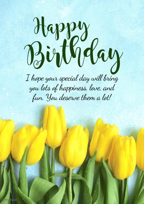 Kopie Von Happy Birthday Greeting Card Flowers Wishes Postermywall