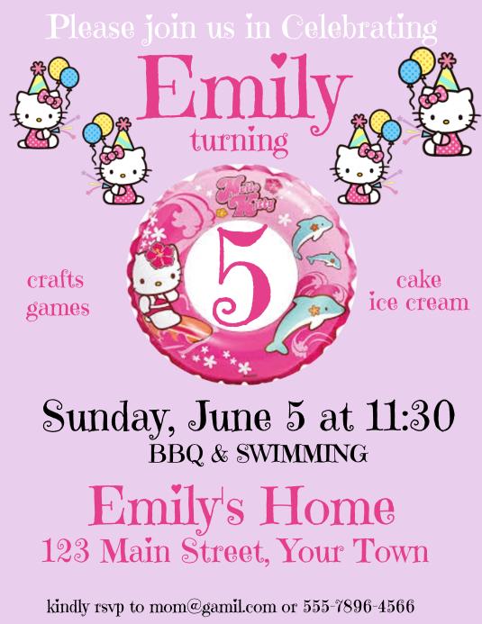 Undangan Ulang Tahun Hello Kitty Templat Postermywall