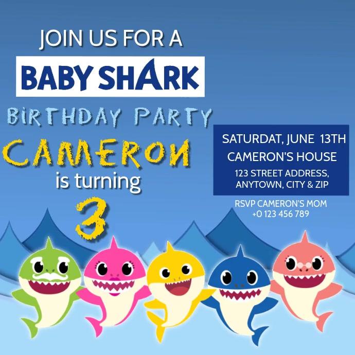 Kids Baby Shark Birthday Invite Template Postermywall