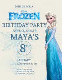 5 840 Frozen Birthday Invitation Customizable Design Templates
